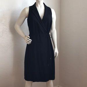 Ann Taylor elegant black wrap midi with collar
